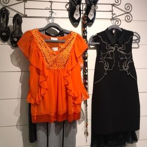 New Tangerine Sleeveless Ruffles W/ Studs Top
